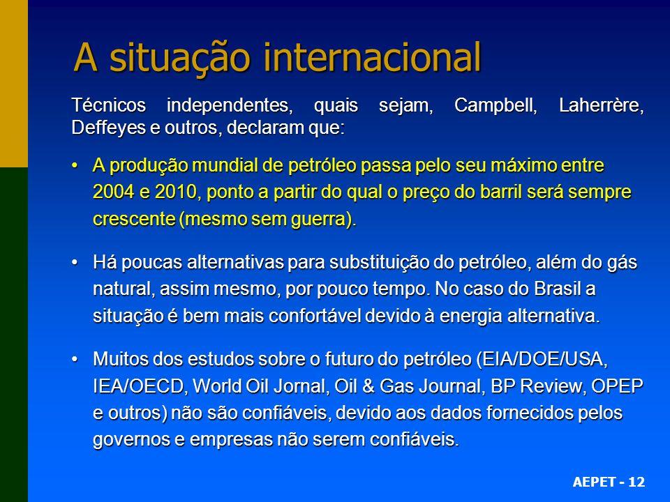 AEPET - 12 A situação internacional Técnicos independentes, quais sejam, Campbell, Laherrère, Deffeyes e outros, declaram que: A produção mundial de p