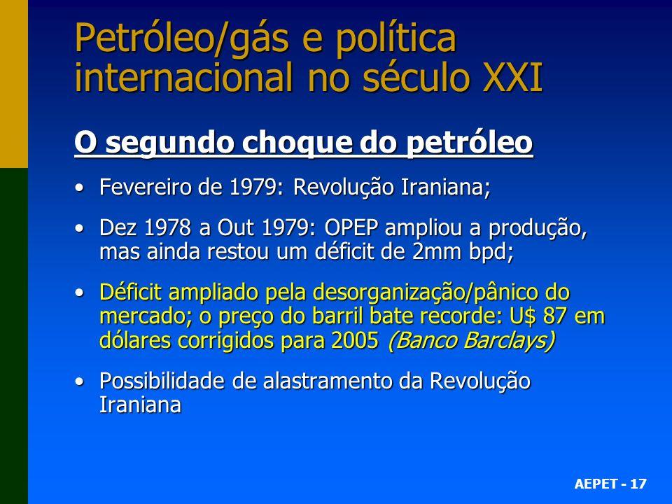 AEPET - 17 Petróleo/gás e política internacional no século XXI O segundo choque do petróleo Fevereiro de 1979: Revolução Iraniana;Fevereiro de 1979: R