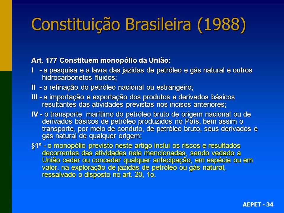 AEPET - 34 Constituição Brasileira (1988) Art. 177 Constituem monopólio da União: I - a pesquisa e a lavra das jazidas de petróleo e gás natural e out