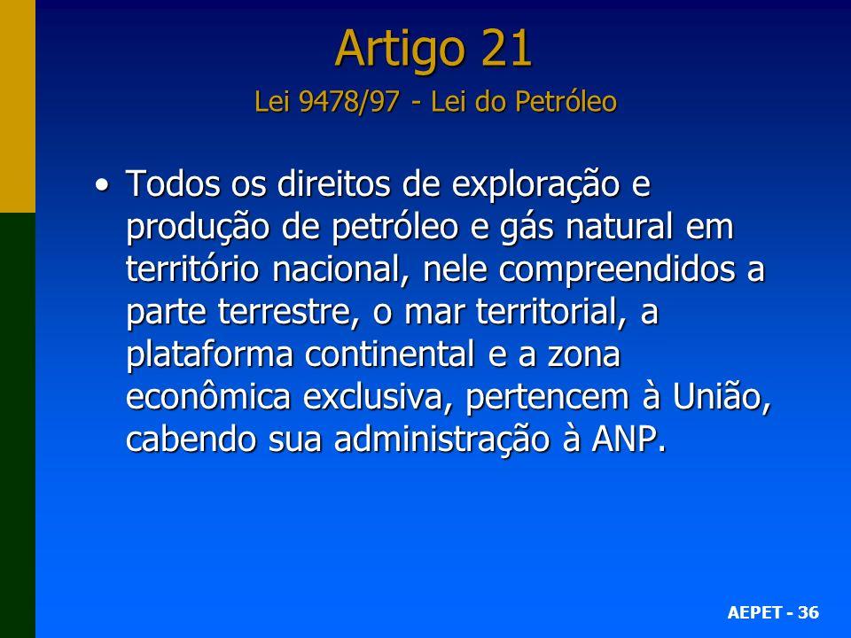 AEPET - 36 Todos os direitos de exploração e produção de petróleo e gás natural em território nacional, nele compreendidos a parte terrestre, o mar te