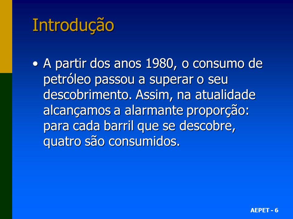 AEPET - 6 Introdução A partir dos anos 1980, o consumo de petróleo passou a superar o seu descobrimento. Assim, na atualidade alcançamos a alarmante p