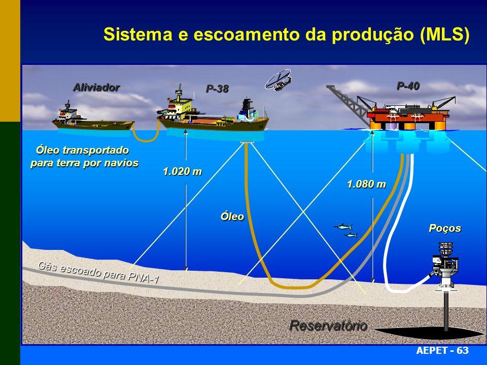 AEPET - 63 Sistema e escoamento da produção (MLS) P-38 Aliviador P-40 Poços Gás escoado para PNA-1 Óleo Reservatório Óleo transportado para terra por
