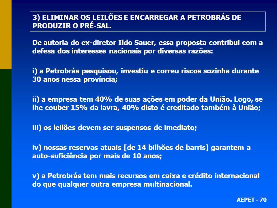 AEPET - 70 De autoria do ex-diretor Ildo Sauer, essa proposta contribui com a defesa dos interesses nacionais por diversas razões: i) a Petrobrás pesq