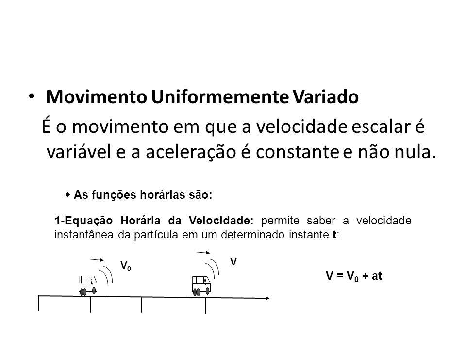 Movimento Uniformemente Variado É o movimento em que a velocidade escalar é variável e a aceleração é constante e não nula. Física, 1º Ano Cinemática