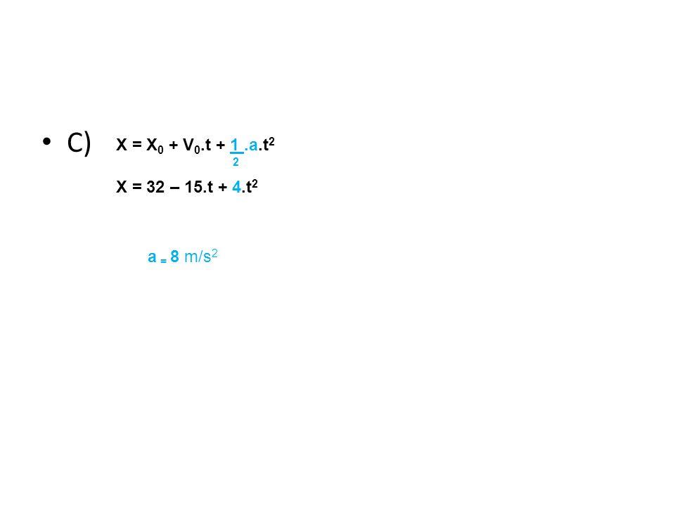 Física, 1º Ano Cinemática C) X = X 0 + V 0.t + 1.a.t 2 2 X = 32 – 15.t + 4.t 2 a = 8 m/s 2
