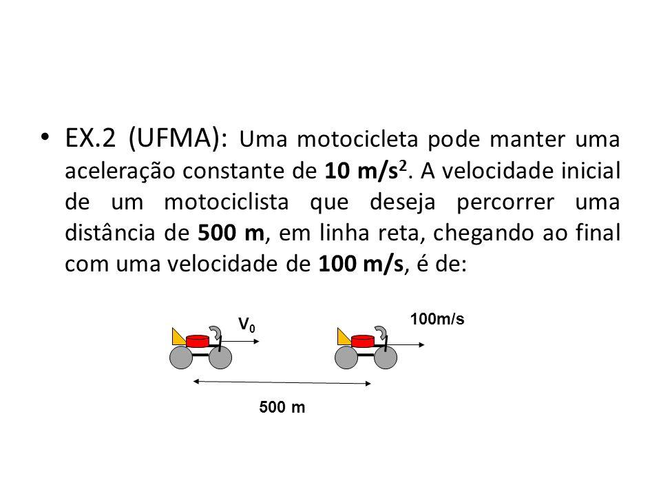 EX.2 (UFMA): Uma motocicleta pode manter uma aceleração constante de 10 m/s 2. A velocidade inicial de um motociclista que deseja percorrer uma distân