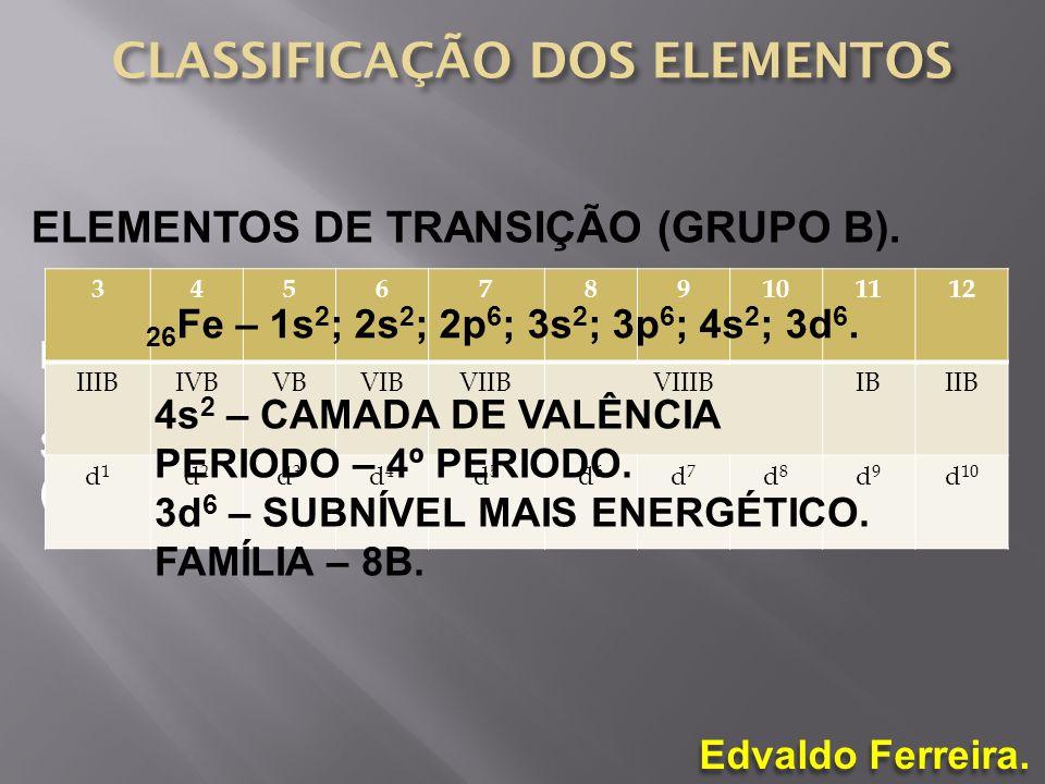 Edvaldo Ferreira. ELEMENTOS DE TRANSIÇÃO (GRUPO B). DIVIDIDOS EM 10 GRUPOS; SUBNÍVEIS D (TRANSIÇÃO EXTERNO) E F (TRANSIÇÃO INTERNA) MAIS ENERGÉTICOS.