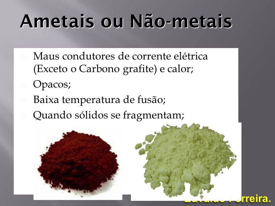 Edvaldo Ferreira. Ametais ou Não-metais Maus condutores de corrente elétrica (Exceto o Carbono grafite) e calor; Opacos; Baixa temperatura de fusão; Q