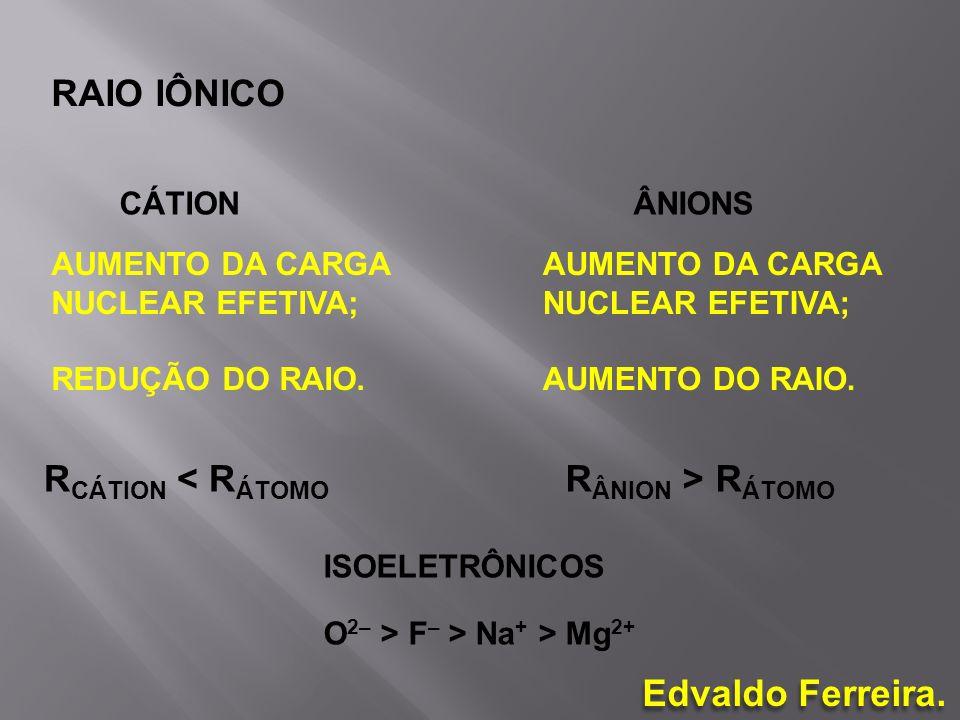 RAIO IÔNICO AUMENTO DA CARGA NUCLEAR EFETIVA; REDUÇÃO DO RAIO. AUMENTO DA CARGA NUCLEAR EFETIVA; AUMENTO DO RAIO. CÁTIONÂNIONS R CÁTION < R ÁTOMO R ÂN