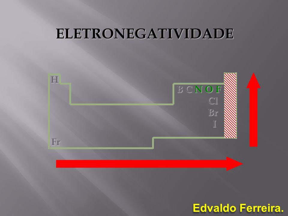 Edvaldo Ferreira. B C N O F Cl Cl Br Br I H Fr ELETRONEGATIVIDADE