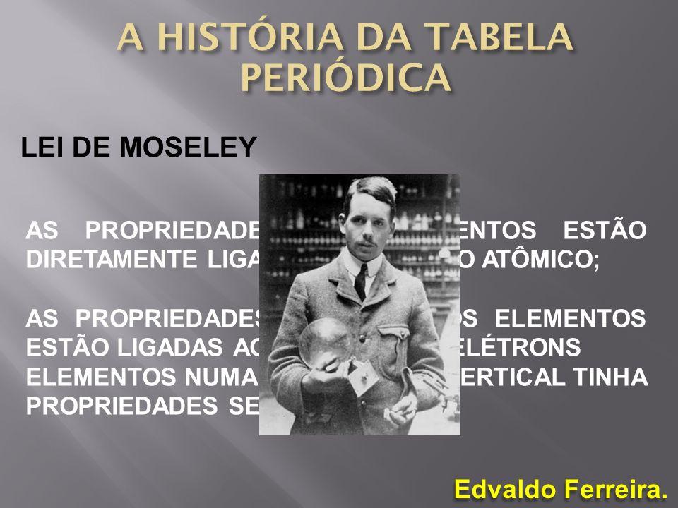 Edvaldo Ferreira. LEI DE MOSELEY AS PROPRIEDADES DOS ELEMENTOS ESTÃO DIRETAMENTE LIGADAS AO NÚMERO ATÔMICO; AS PROPRIEDADES QUÍMICAS DOS ELEMENTOS EST