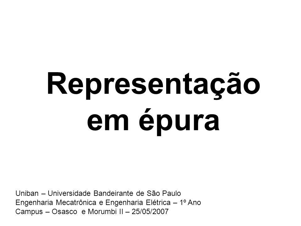Representação em épura Uniban – Universidade Bandeirante de São Paulo Engenharia Mecatrônica e Engenharia Elétrica – 1º Ano Campus – Osasco e Morumbi
