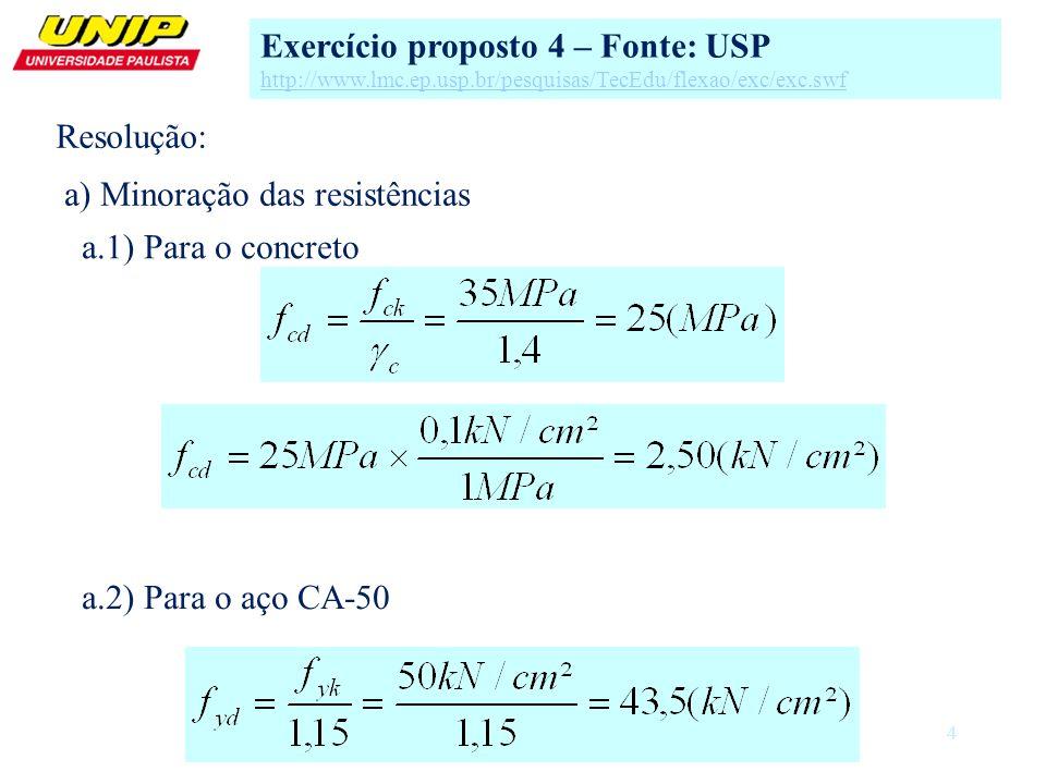 4 a) Minoração das resistências a.1) Para o concreto Exercício proposto 4 – Fonte: USP http://www.lmc.ep.usp.br/pesquisas/TecEdu/flexao/exc/exc.swf a.