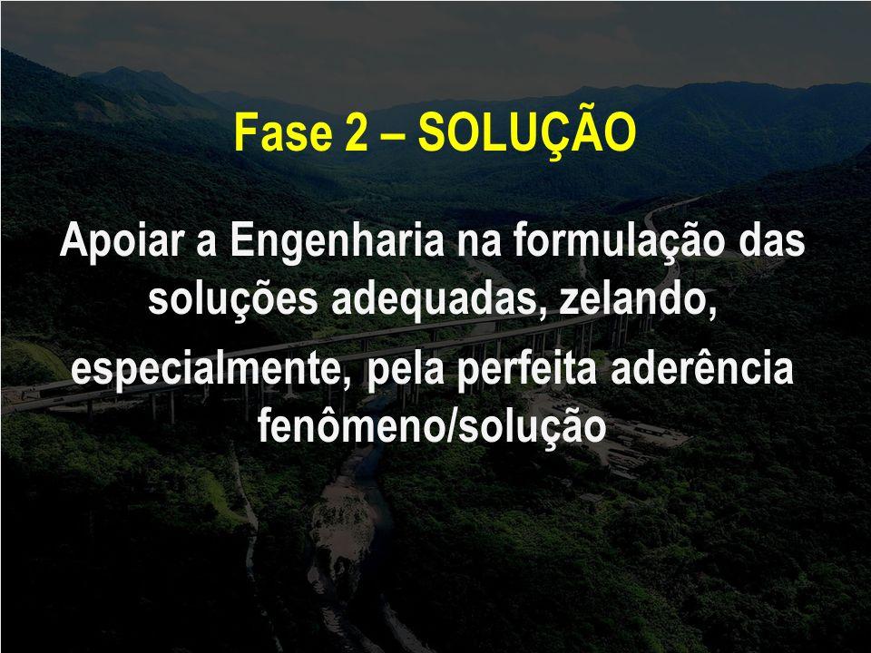 Fase 2 – SOLUÇÃO Apoiar a Engenharia na formulação das soluções adequadas, zelando, especialmente, pela perfeita aderência fenômeno/solução