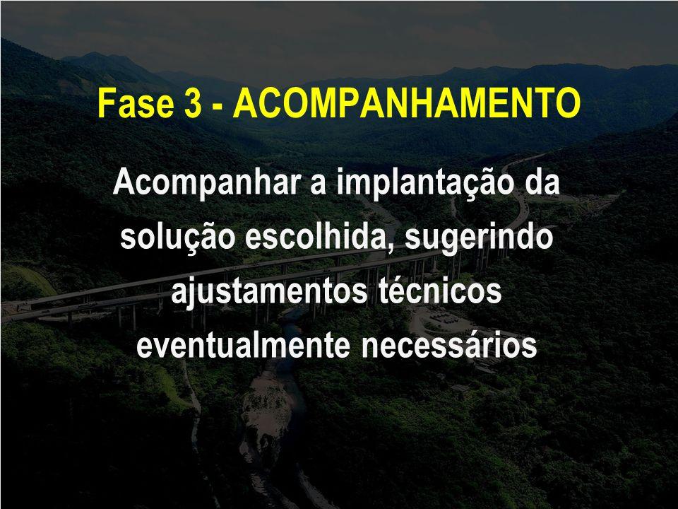 Fase 3 - ACOMPANHAMENTO Acompanhar a implantação da solução escolhida, sugerindo ajustamentos técnicos eventualmente necessários