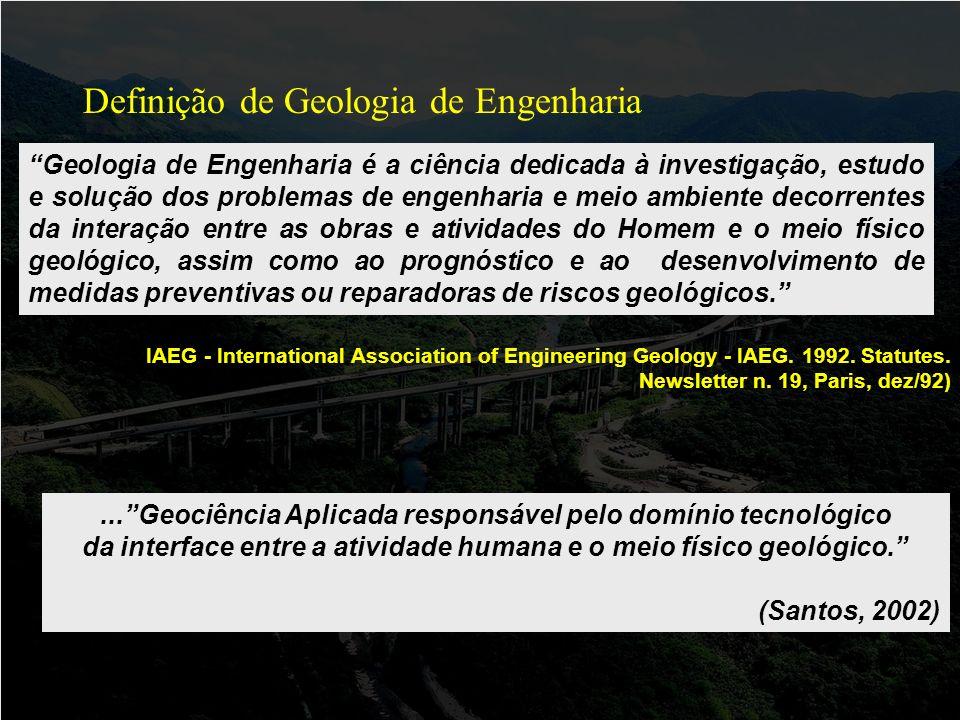 Definição de Geologia de Engenharia IAEG - International Association of Engineering Geology - IAEG.