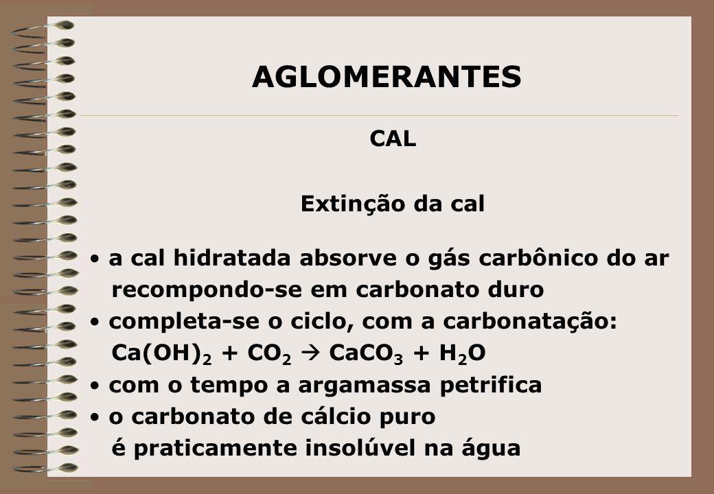 AGLOMERANTES CAL Extinção da cal a cal hidratada absorve o gás carbônico do ar recompondo-se em carbonato duro completa-se o ciclo, com a carbonatação
