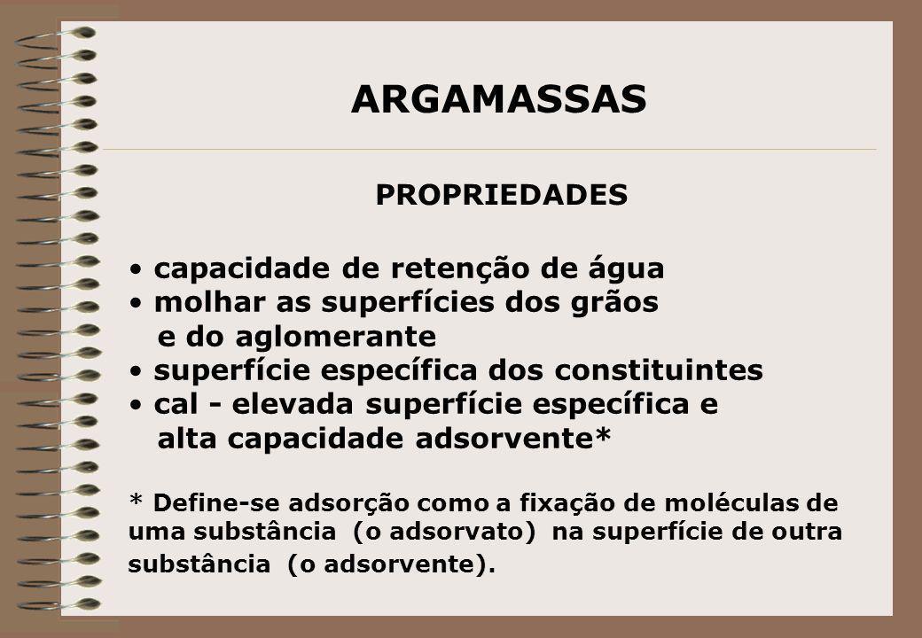ARGAMASSAS PROPRIEDADES capacidade de retenção de água molhar as superfícies dos grãos e do aglomerante superfície específica dos constituintes cal -