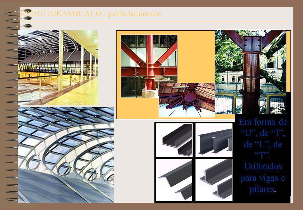 ESTRUTURAS DE AÇO – perfis laminados Perfis metálicos (aço): Em forma de U, de I, de L, de T. Utilizados para vigas e pilares.