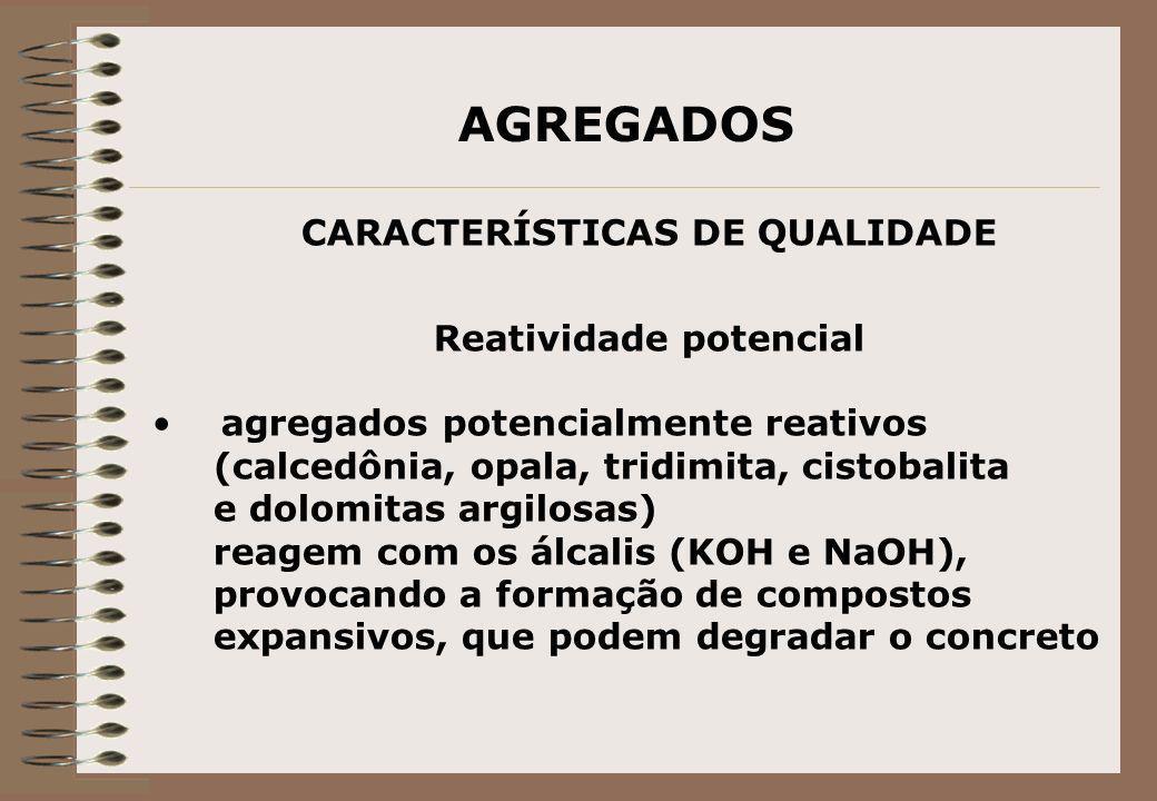 AGREGADOS CARACTERÍSTICAS DE QUALIDADE Reatividade potencial agregados potencialmente reativos (calcedônia, opala, tridimita, cistobalita e dolomitas