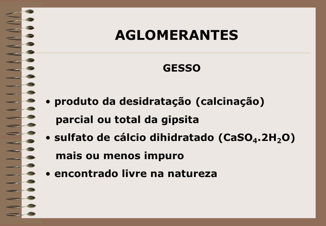 AGLOMERANTES GESSO produto da desidratação (calcinação) parcial ou total da gipsita sulfato de cálcio dihidratado (CaSO 4.2H 2 O) mais ou menos impuro