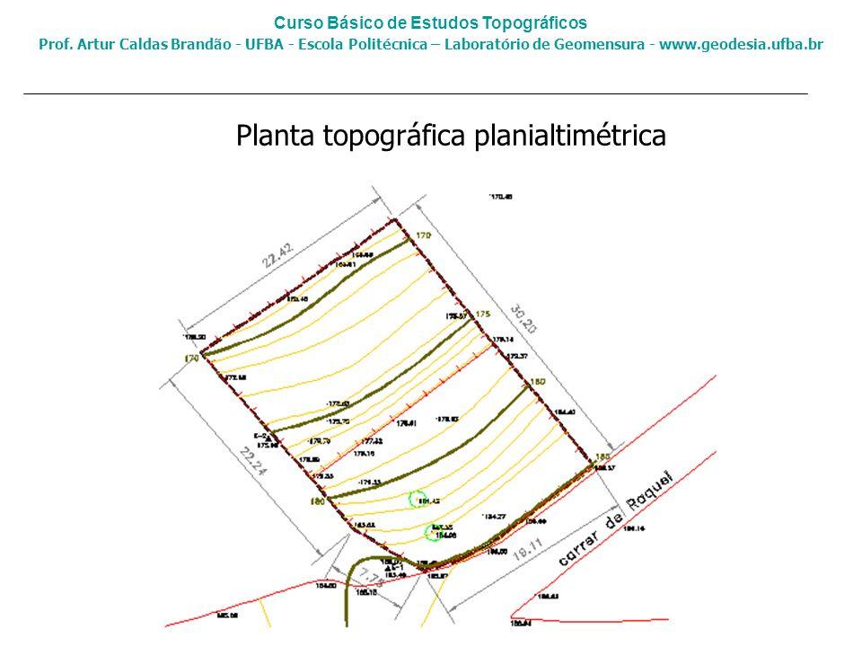 Planta topográfica planialtimétrica Curso Básico de Estudos Topográficos Prof. Artur Caldas Brandão - UFBA - Escola Politécnica – Laboratório de Geome