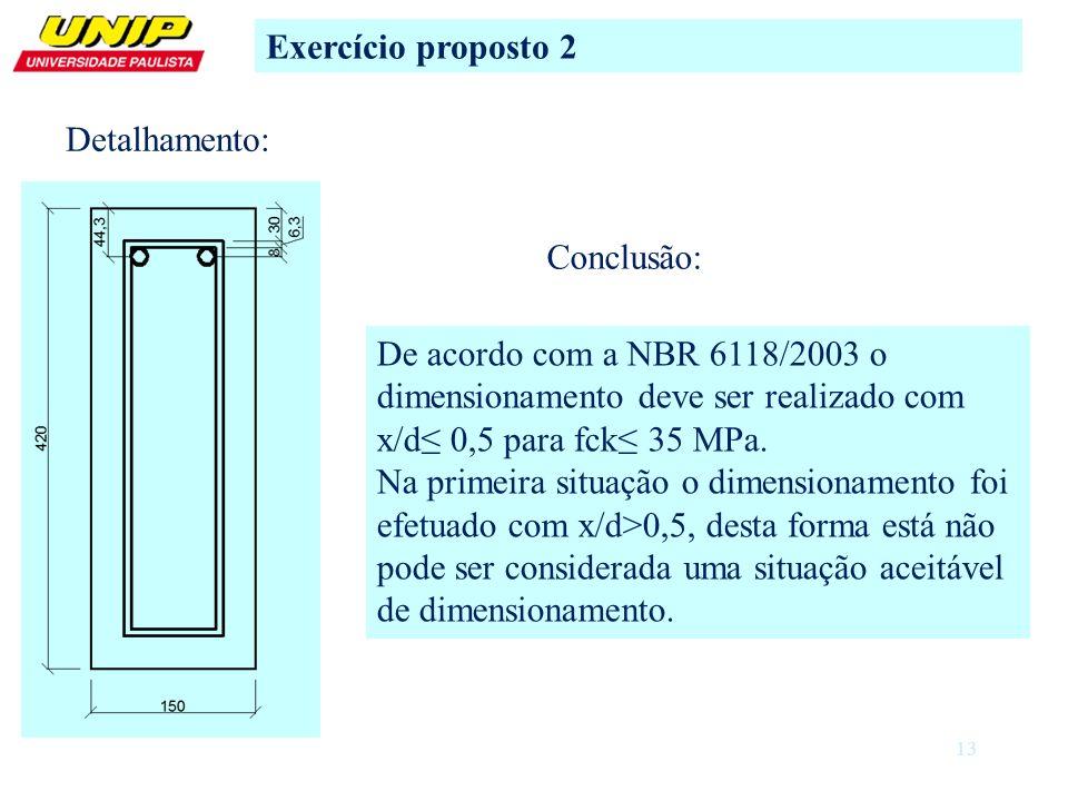 13 Exercício proposto 2 Detalhamento: Conclusão: De acordo com a NBR 6118/2003 o dimensionamento deve ser realizado com x/d 0,5 para fck 35 MPa. Na pr