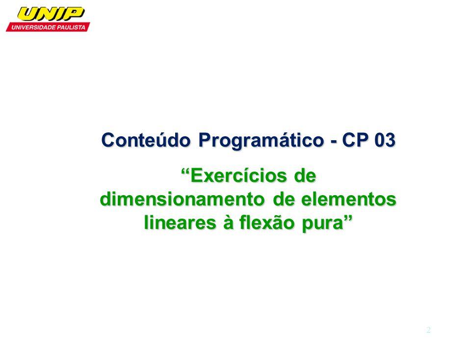 Conteúdo Programático - CP 03 Exercícios de dimensionamento de elementos lineares à flexão pura 2