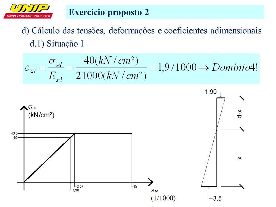 6 Exercício proposto 2 d) Cálculo das tensões, deformações e coeficientes adimensionais d.1) Situação I