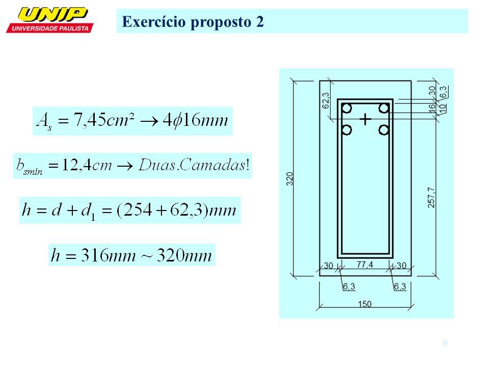 10 Exercício proposto 2 d) Cálculo das tensões e deformações correspondentes d.2) Situação II