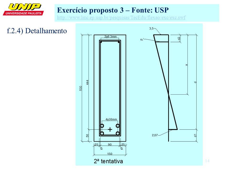 14 Exercício proposto 3 – Fonte: USP http://www.lmc.ep.usp.br/pesquisas/TecEdu/flexao/exc/exc.swf f.2.4) Detalhamento