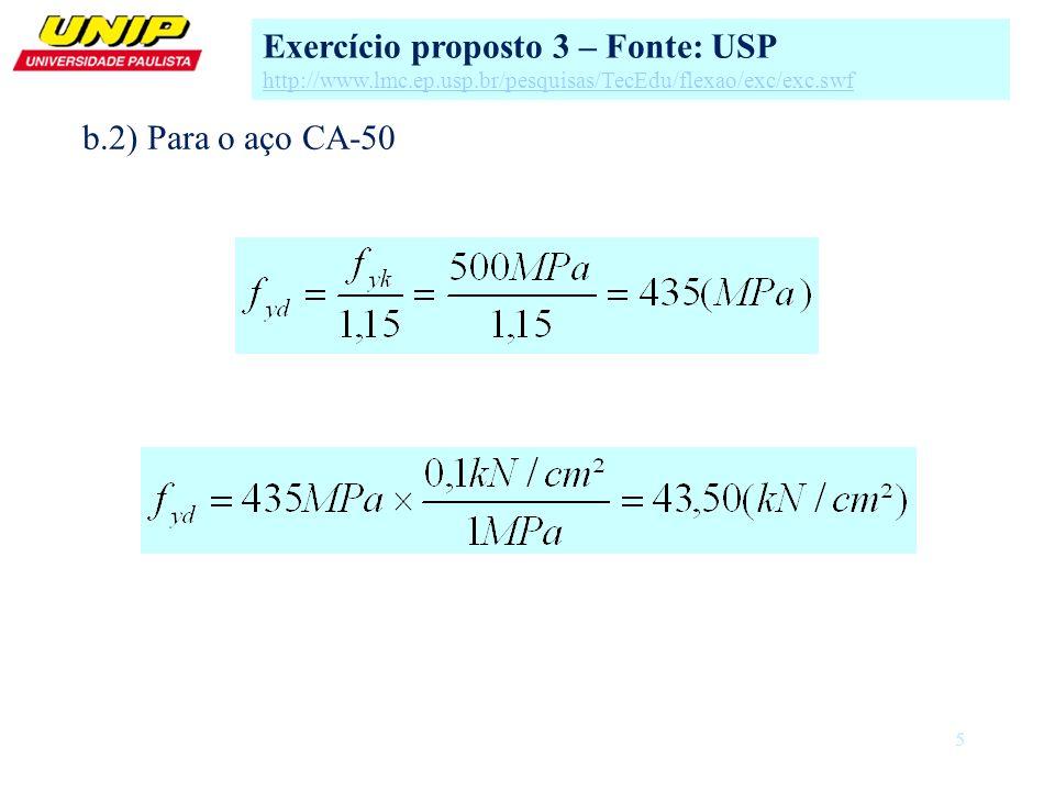 5 b.2) Para o aço CA-50 Exercício proposto 3 – Fonte: USP http://www.lmc.ep.usp.br/pesquisas/TecEdu/flexao/exc/exc.swf
