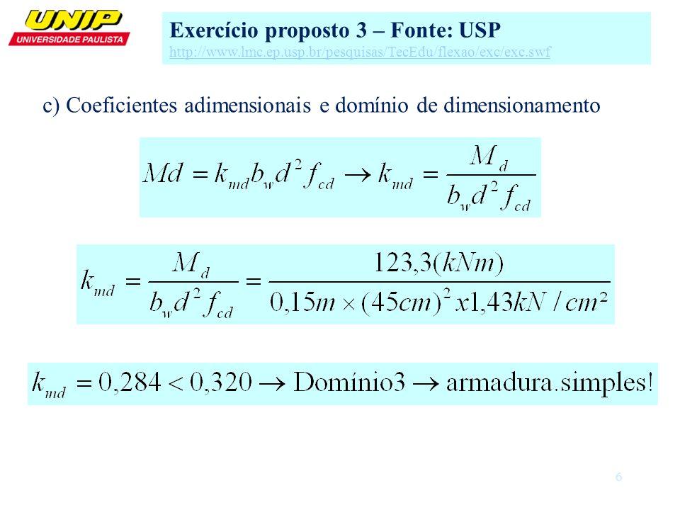 6 c) Coeficientes adimensionais e domínio de dimensionamento Exercício proposto 3 – Fonte: USP http://www.lmc.ep.usp.br/pesquisas/TecEdu/flexao/exc/ex