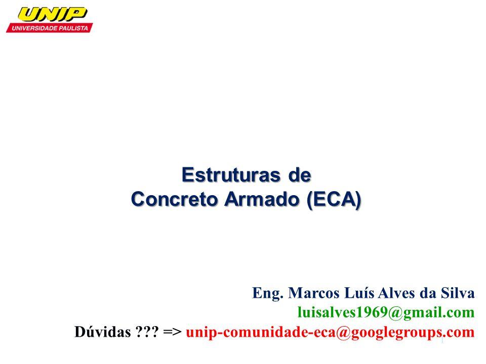 Eng. Marcos Luís Alves da Silva luisalves1969@gmail.com Dúvidas ??? => unip-comunidade-eca@googlegroups.com Estruturas de Concreto Armado (ECA) 1