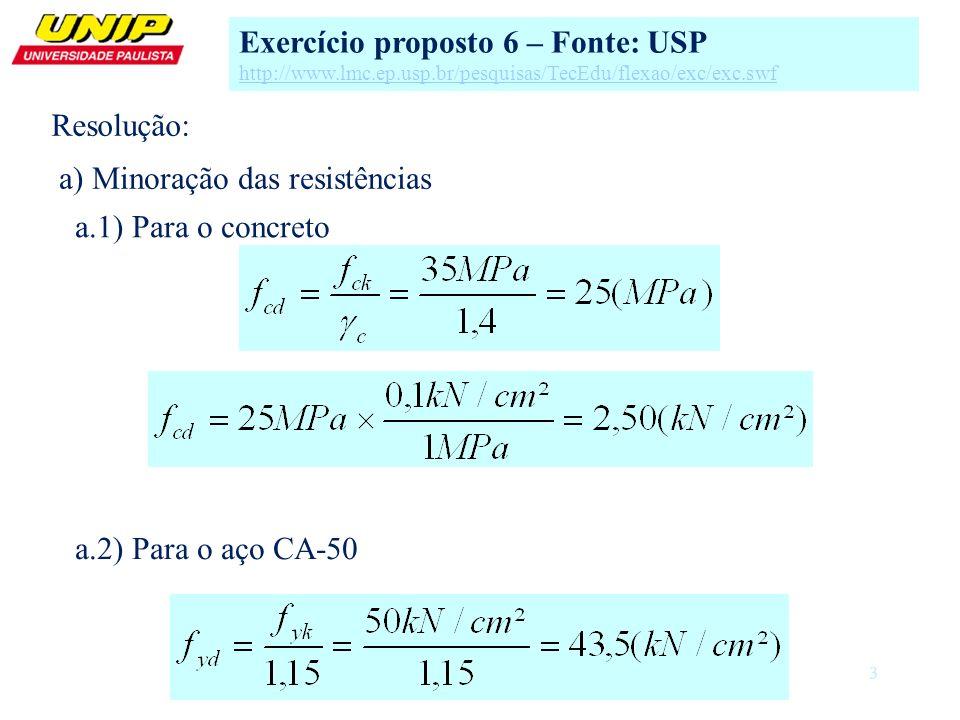 3 a) Minoração das resistências a.1) Para o concreto Exercício proposto 6 – Fonte: USP http://www.lmc.ep.usp.br/pesquisas/TecEdu/flexao/exc/exc.swf a.