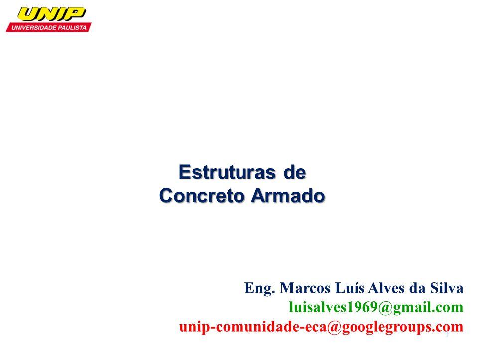 Eng. Marcos Luís Alves da Silva luisalves1969@gmail.com unip-comunidade-eca@googlegroups.com Estruturas de Concreto Armado 1