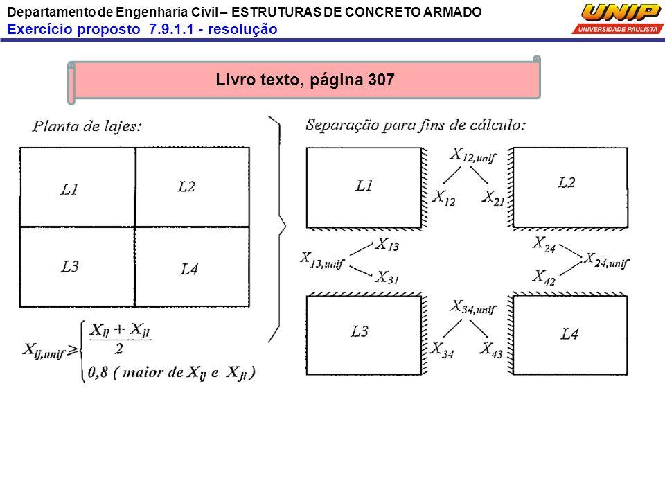 Departamento de Engenharia Civil – ESTRUTURAS DE CONCRETO ARMADO Exercício proposto 7.9.1.1 - resolução Livro texto, página 307