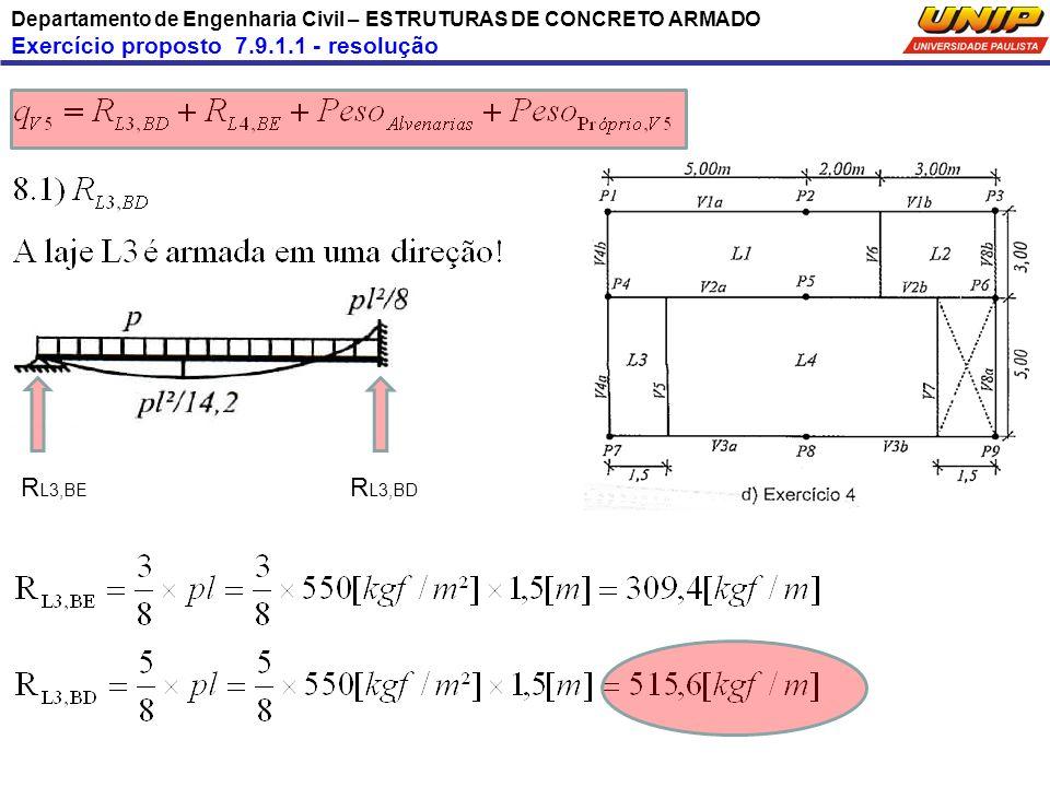Departamento de Engenharia Civil – ESTRUTURAS DE CONCRETO ARMADO Exercício proposto 7.9.1.1 - resolução R L3,BE R L3,BD