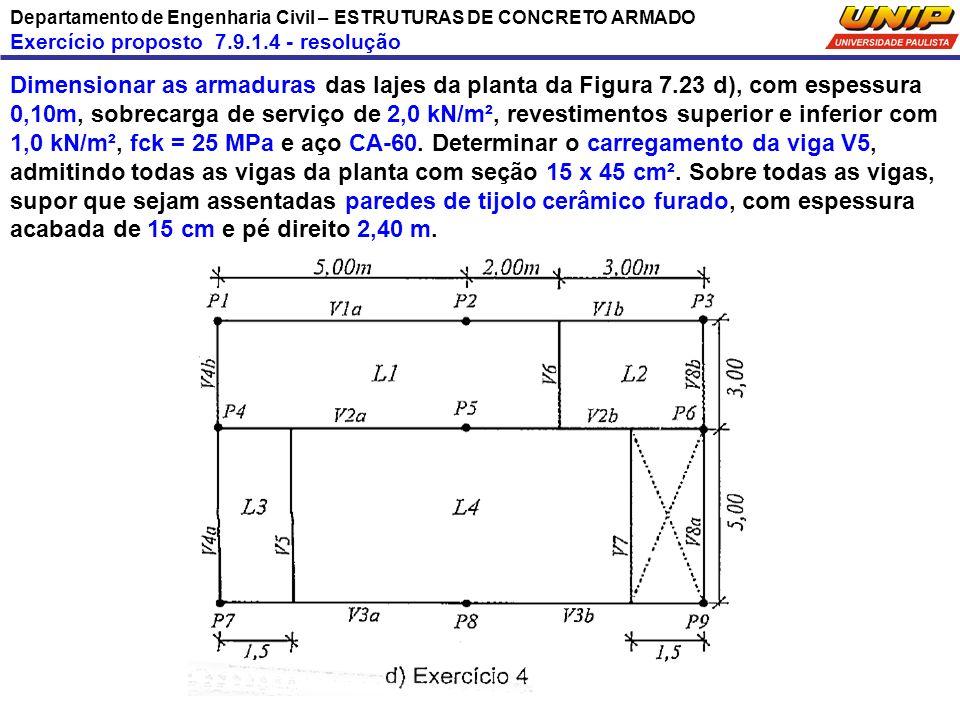Departamento de Engenharia Civil – ESTRUTURAS DE CONCRETO ARMADO Exercício proposto 7.9.1.4 - resolução Dimensionar as armaduras das lajes da planta d