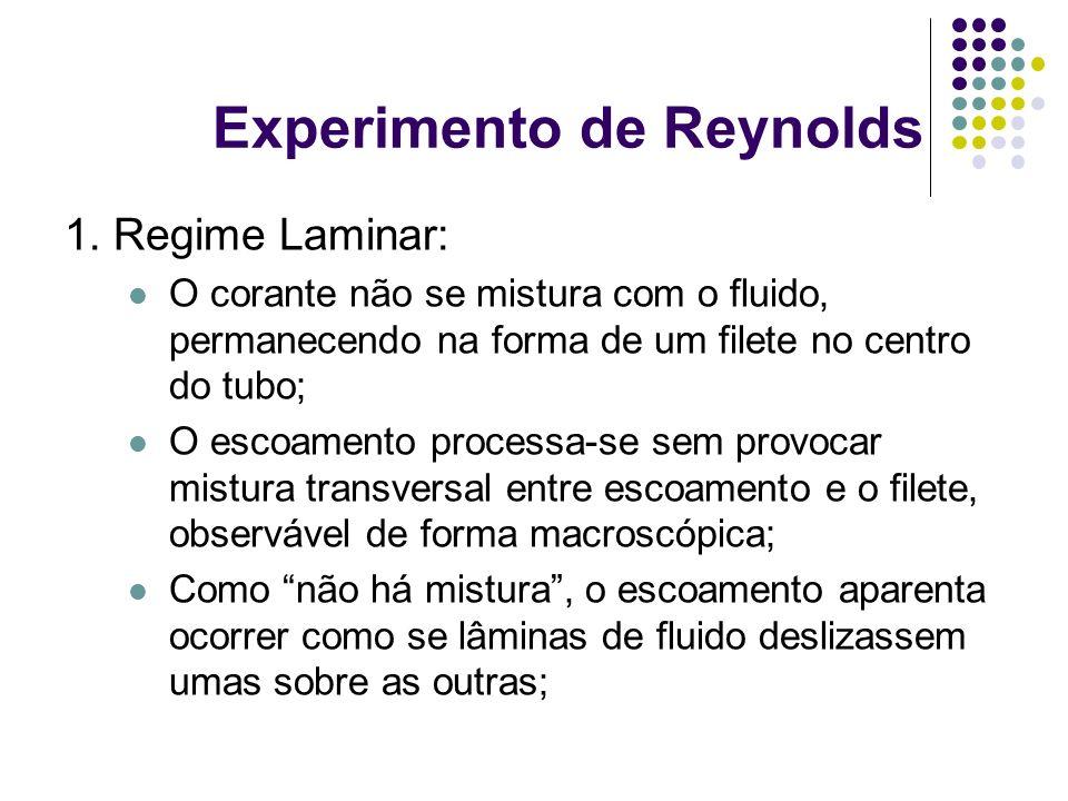 1. Regime Laminar: O corante não se mistura com o fluido, permanecendo na forma de um filete no centro do tubo; O escoamento processa-se sem provocar