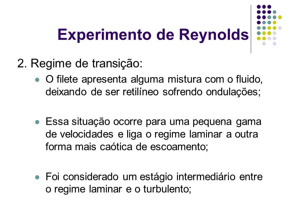 Experimento de Reynolds 2. Regime de transição: O filete apresenta alguma mistura com o fluido, deixando de ser retilíneo sofrendo ondulações; Essa si