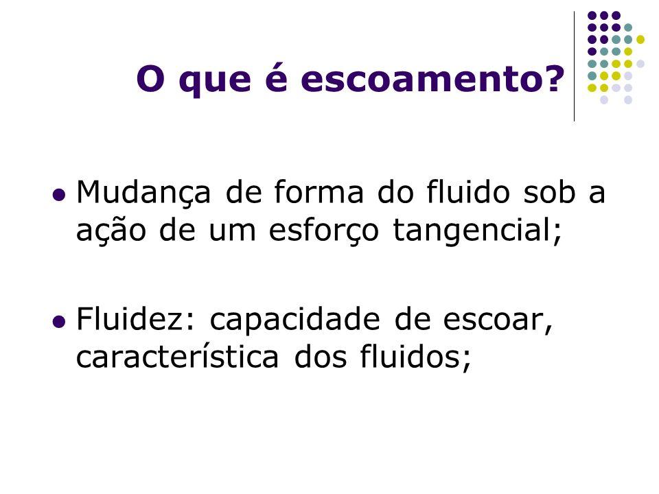 O que é escoamento? Mudança de forma do fluido sob a ação de um esforço tangencial; Fluidez: capacidade de escoar, característica dos fluidos;