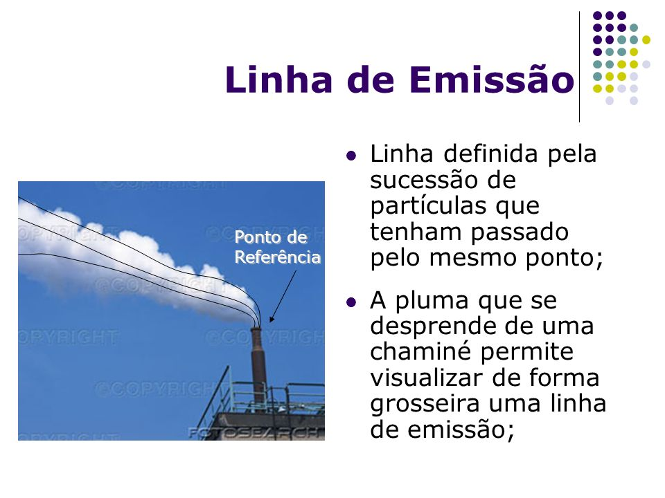 Linha de Emissão Linha definida pela sucessão de partículas que tenham passado pelo mesmo ponto; A pluma que se desprende de uma chaminé permite visua