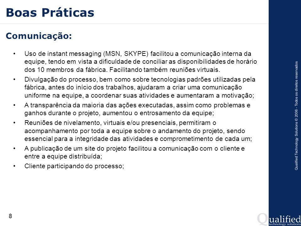 8 Boas Práticas Comunicação: Uso de instant messaging (MSN, SKYPE) facilitou a comunicação interna da equipe, tendo em vista a dificuldade de concilia