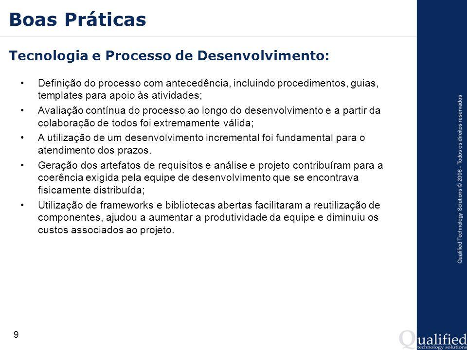 9 Boas Práticas Tecnologia e Processo de Desenvolvimento: Definição do processo com antecedência, incluindo procedimentos, guias, templates para apoio