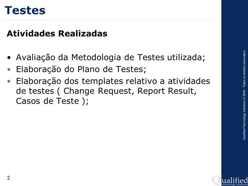 3 Testes Atividades Realizadas Projeto dos casos de testes; Execução dos casos de testes; Report de Resultados; Re-Testes e regression Tests;