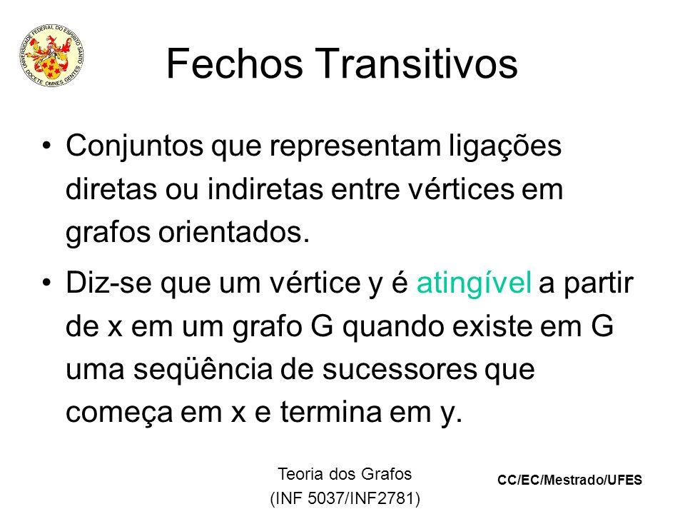 CC/EC/Mestrado/UFES Teoria dos Grafos (INF 5037/INF2781) Fechos Transitivos Conjuntos que representam ligações diretas ou indiretas entre vértices em grafos orientados.