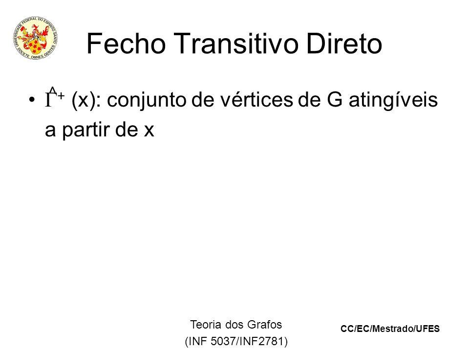 CC/EC/Mestrado/UFES Teoria dos Grafos (INF 5037/INF2781) Fecho Transitivo Direto + (x): conjunto de vértices de G atingíveis a partir de x ^
