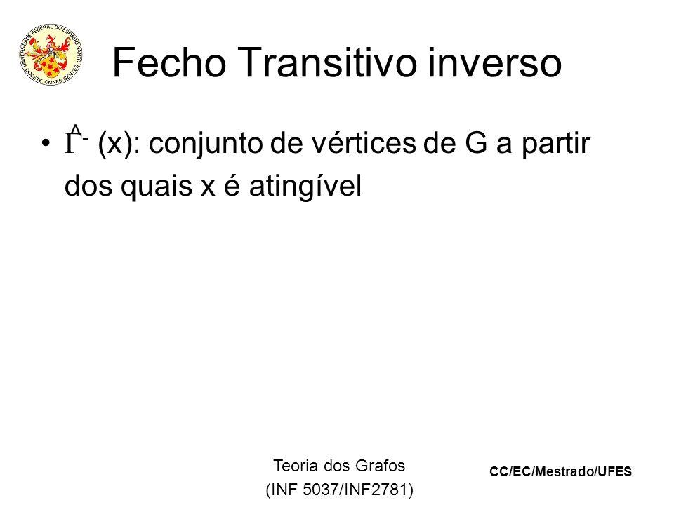 CC/EC/Mestrado/UFES Teoria dos Grafos (INF 5037/INF2781) Fecho Transitivo inverso - (x): conjunto de vértices de G a partir dos quais x é atingível ^