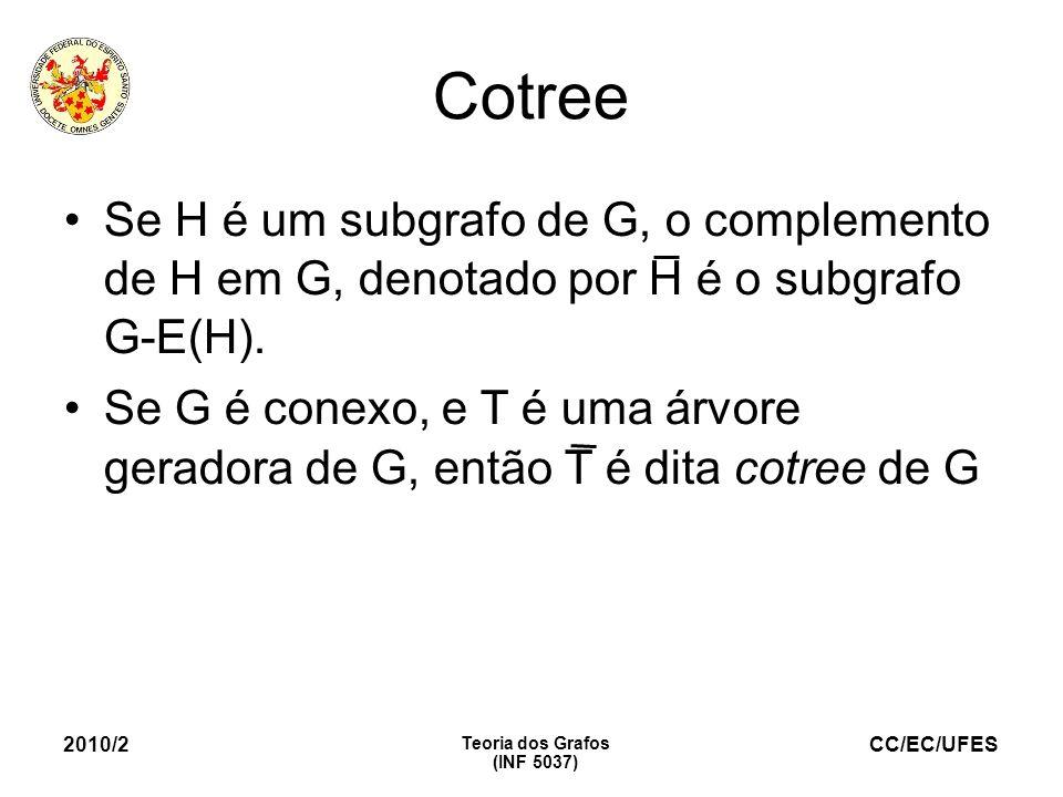 CC/EC/UFES 2010/2 Teoria dos Grafos (INF 5037) Cotree Se H é um subgrafo de G, o complemento de H em G, denotado por H é o subgrafo G-E(H). Se G é con